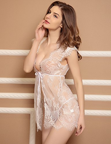 Nightwear Outfits Thong Notte da Donne Abito with Dress White floreale Notte 2 Breve Aibrou Sleepwear Intimo Babydoll gvwUqFFx