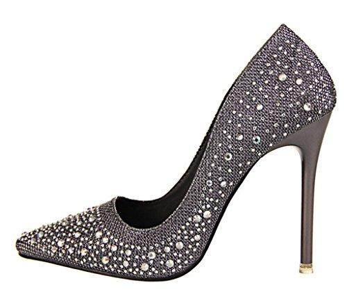 Minetom Mujer Primavera Dulce Boda Zapatos de Tacón Elegante Brillante Rhinestone Zapatos Tacón Alto Zapatos Pumps Stiletto Gris