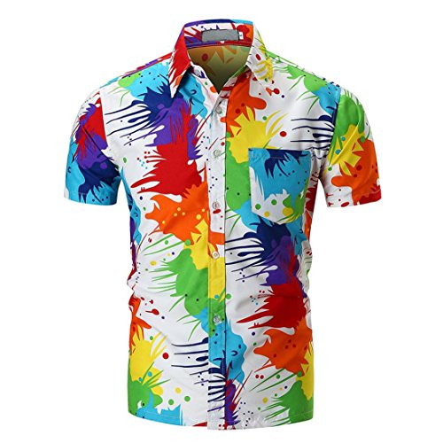 iLXHD Personality Men's Casual Slim Short Sleeve Printed Shirt Top Blouse(Multicolor,2XL) -