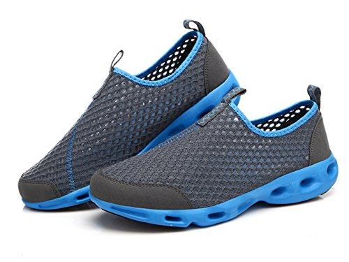 Ausom Hommes Respirant Séchage Rapide Chaussures De Course Aqua Eau Piscine Plage Athlétisme Chaussures De Sport En Plein Air Gris Foncé