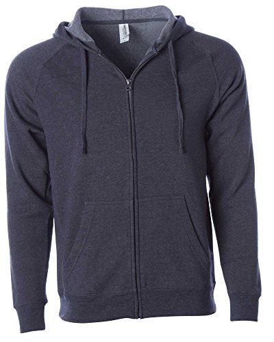 Global Blank  Lightweight Zip Up Hoodies Men Extra Soft Fleece Hooded Sweatshirt,Midnight,X Large