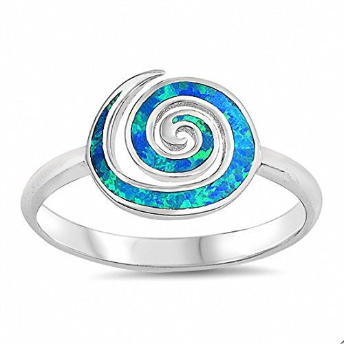 Opal Swirl Ring (Swirl Spiral Ring Created Blue Opal 925 Sterling Silver,Size-10)