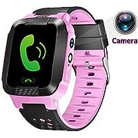1.44inch Touch Kids cámara GPS Tracker Smart Watch con SIM llamadas Anti-lost SOS muñeca reloj pulsera inteligente para los niños las niñas niños Finder Seguridad Monitor linterna, Rosado