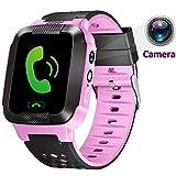 1.44 inch Touch Kids GPS Tracker Smart Watch with Camera SIM Calls Anti-lost SOS Wrist Watch Smart Bracelet for Children Girls Boys Finder Safety Monitor Flashlight (Cute Pink)