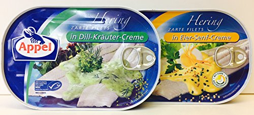 Appel 7.05-Ounce German Herring Fillets Variety Pack of 2 Flavors – in Dill-Krauter-Creme and in Eier-Senf-Creme by Appel