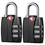 KeeKit Combination Locks, TSA Approved Luggage Locks with Open Alert Indicator, TSA Luggage Locks for Travel, Suitcase, Baggage & Backpack, Gym Locker (Black, 2 Pack)