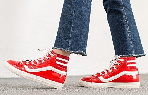 Annakastle Mujer's Vegan Charol Mid Top Sneaker Fashion Trainer Rojo