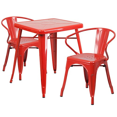MFO 23.75'' Square Red Metal Indoor-Outdoor Table Set with 2 Arm Chairs