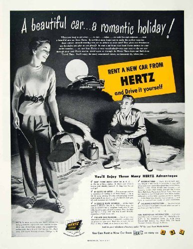 1950 Ad Hertz Rent Car Holiday Drive Landscape Campfire Driv Ur Self Chicago   Original Print Ad
