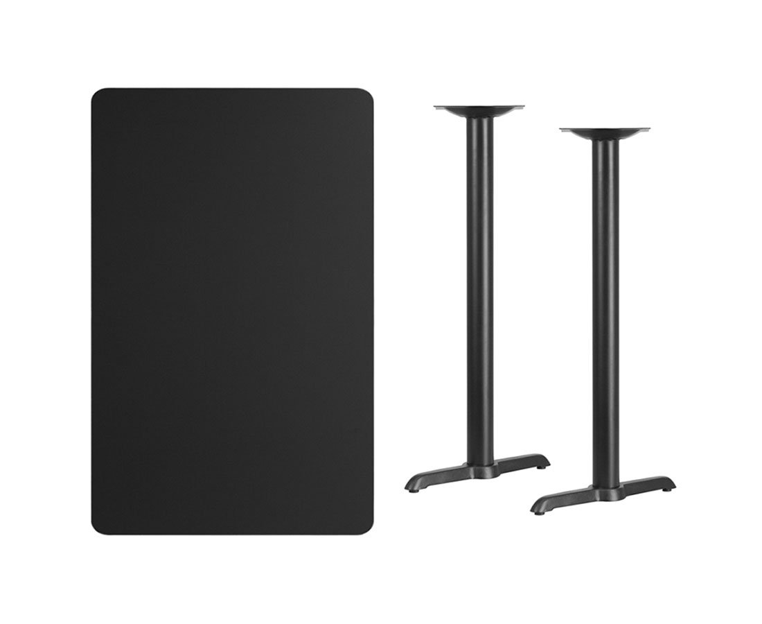 Offex 30'' x 48'' Rectangular Black Laminate Table Top with 5'' x 22'' Bar Height Table Bases by Offex