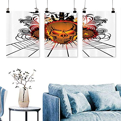 SCOCICI1588 3 Panel Canvas Wall ArtKull ce Bfire Effect Spirits of Other World Ccept Bats and Spider Web Halloween Print On Canvas No Frame 30 INCH X 60 INCH X -