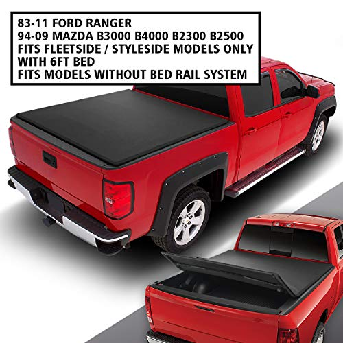 DNA MOTORING TTC-TRISOFT-007 Pickup Truck Rear Trunk Bed Soft Tri-Fold Adjustable Tonneau Cover