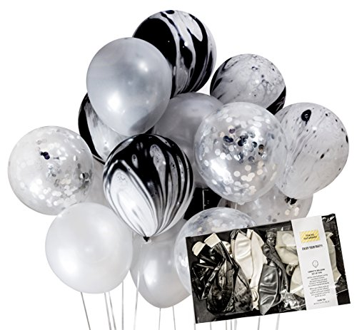 Creative Black and Silver Party Decoration Marble Confetti Balloon (Thick 12