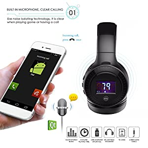 ELEGIANT Wireless Bluetooth Over-ear Headphones with Mic, HiFi Stereo Foldable Adjustable Headsets for iPhone Laptops Computers Tablets PCs and Other Smartphones Black