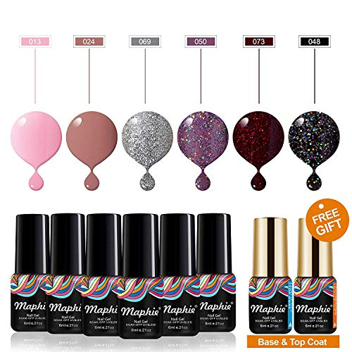 Maphie Gel Nail Polish Sets 6 Colours Glitter UV LED Soak Off Gel Varnish Manicure with FREE TOP BASE COAT SET 0.21 OZ 6ml