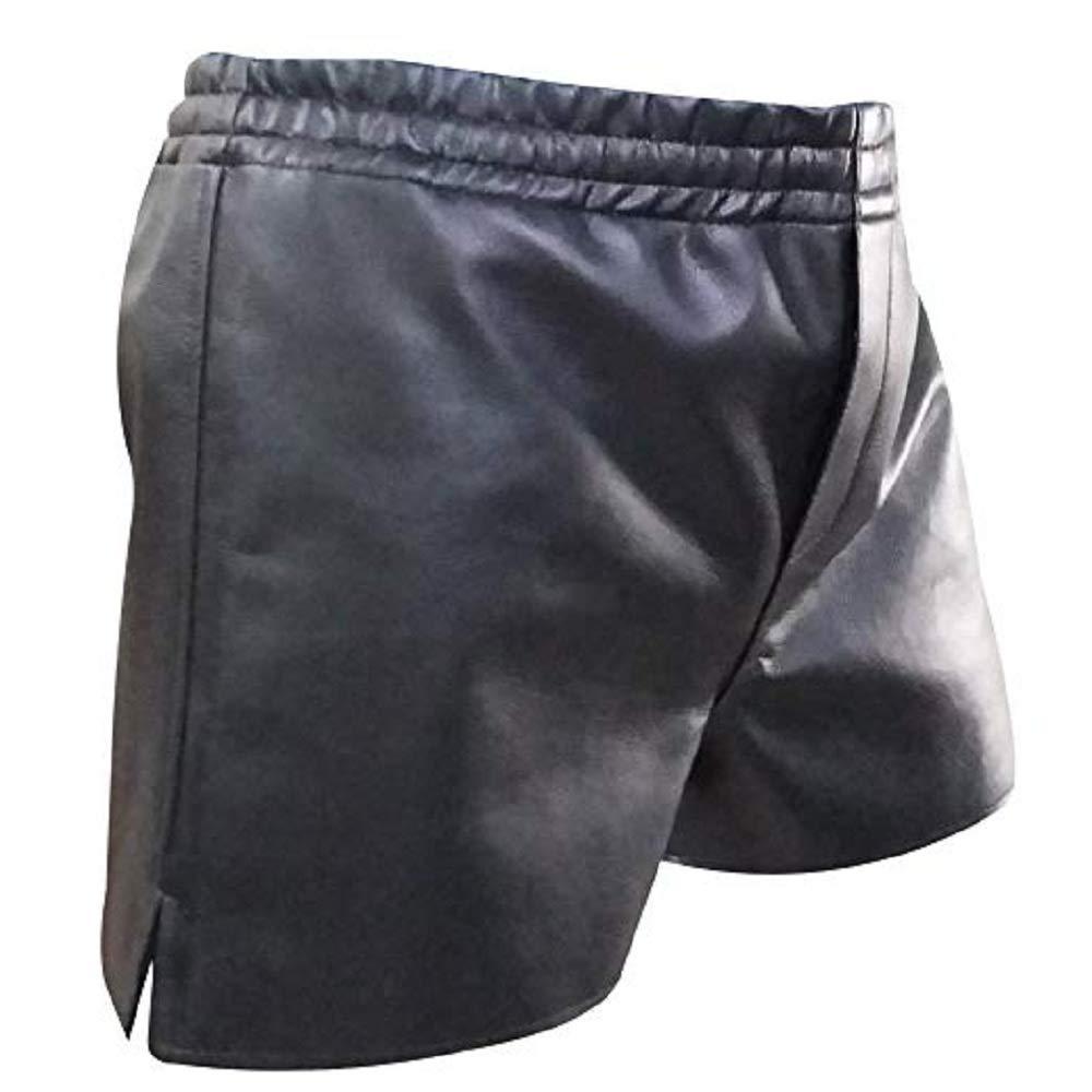 Mens Genuine Black Leather Bermuda Shorts Lederhosen