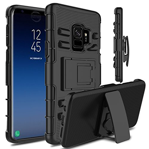 Galaxy S9 Case, Venoro Heavy Duty Shockproof Armor Holster Defender Full Body Rugged Protective Case Cover with Kickstand and Belt Swivel Clip for Samsung Galaxy S9 / SM-G960U / SM-G960F (Black)