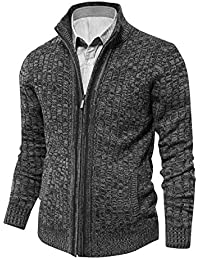 Men's Knit Cardigan Sweaters Slim Fit Stand Collar Zipper with 2 Side Pockets