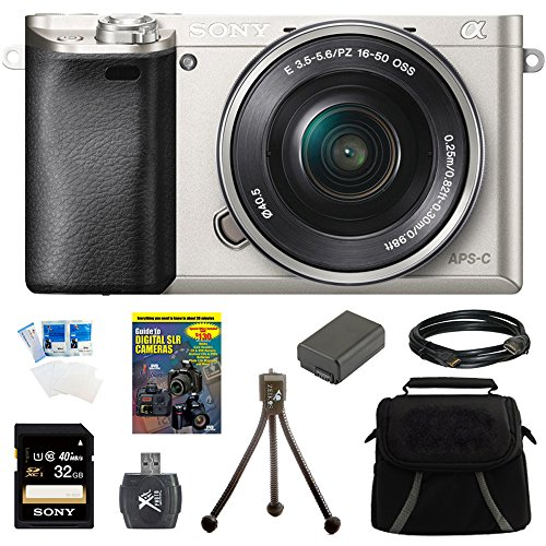Sony Alpha a6000 24.3MP Silver Interchangeable Lens Camera w/ 16-50mm Zoom 32GB Kit Includes Camera, memory card, battery, gadget bag, HDMI cable, card reader, DVD, screen protectors, mini tripod