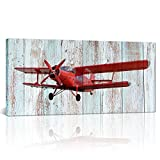 Large Vintage Airplane Decor Propeller Engine Aircraft Red Wall Art Painting Picture Prints on Canvas Framed and Stretched for Living Room Kids Room Ready to Hang 24''X48''