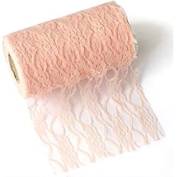 Ling's moment Blush Pink Lace Fabric Ribbon Roll 12 inch x 24 Yards for Burlap Lace Table Runner Boho Vintage Woodland Greenery Wedding Bridal & Baby Shower Party Decor Decorations