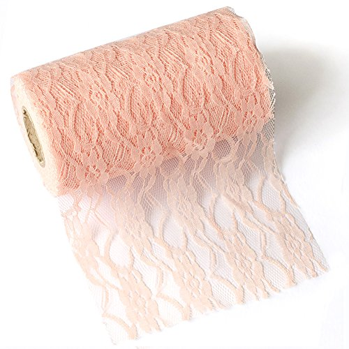 Ling's moment Blush Pink Lace Fabric Ribbon Roll 6 Inch x 24 Yards for Burlap Lace Table Runner Boho Vintage Woodland Greenery Wedding Bridal & Baby Shower Party Decor Decorations -