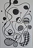 ORIGINAL Abstract PAINTING - Black Waterproof Ink ABSTRACT DRAWING on Heavy STRATHMORE White Paper - SIZE:8.5''x5.5'' - Signed by the Artist - ONE-OF-A-KIND -