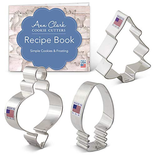 Ann Clark Cookie Cutters 3-Piece Christmas Tree Cookie Cutter Set with Recipe Booklet, Xmas Tree, Light Bulb and Ornament -