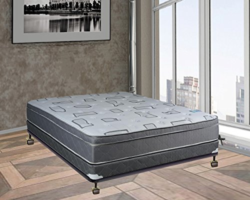 Spring Solution Fully Assembled Long Lasting Foam Encased 10'' Eurotop Orthopedic Back Support Mattress With 4'' Box Spring, Queen,Queen Size by Spring Solution