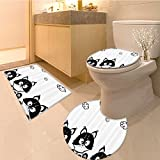 3 Piece Anti-slip mat set Cute Three Kittens with Clouds over Their Heads Smal Thoughts Time Artwork Fabric wi Non Slip Bathroom Rugs