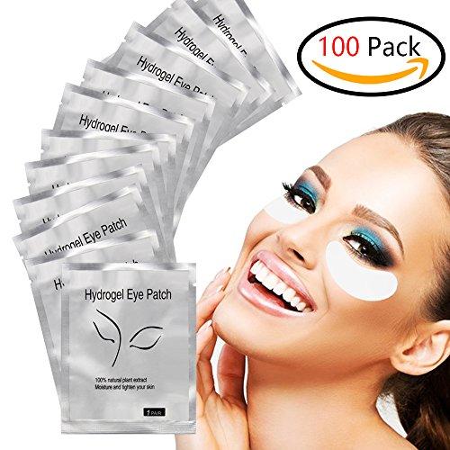 Gel Pads, 100 Pairs Set Eyelash Pads, Lint Free DIY False Eyelash Lash Extension Makeup Eye Gel Patches ()