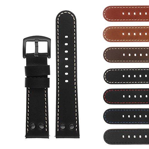 DASSARI Pilot Quick Release Leather Watch Band Strap w/Black Rivets 18mm 20mm 22mm 24mm