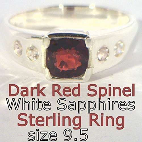 - Dark Red Spinel and White Sapphires Unisex Handmade Sterling 925 Ring size 9.5
