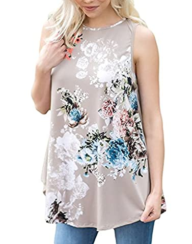 Vemvan Womens Summer Casual Floral Print Sleeveless Loose Tank Blouses And Tops - Flower Sleeveless Blouse
