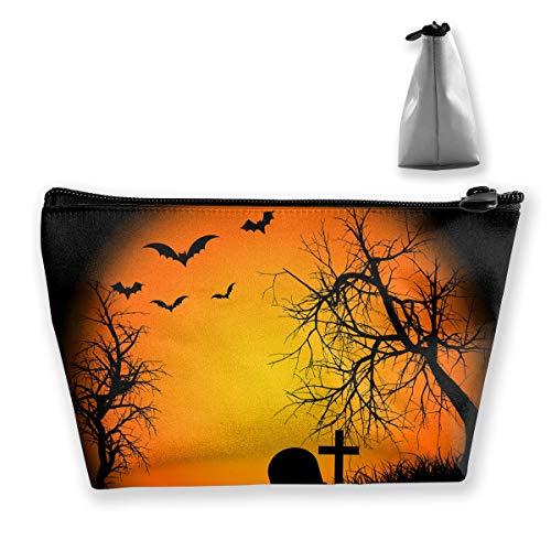 Jingclor Portable Trapezoidal Storage Pouch Happy Halloween Bat Pumpkin Cosmetic Bags Travel Toiletry Zipper Pencil Holders -