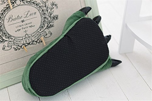 Japsom Unisex Cozy Flannel House Monster Slippers Halloween Animal Costume Paw Claw Shoes Green ZIwTP9