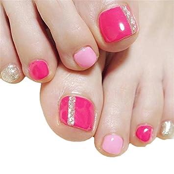 Amazon 24pcs Short Square Fake Toe Nail Tips With Design Press