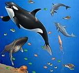 Ocean Mural for Kids Rooms Large Sea Wall Mural Decals of Ocean Animals