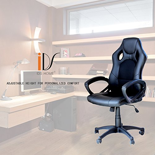 51oU0hBBJSL - IDS Ergonomic Gaming Racing Chair Computer Chair Swivel Leather Executive Office Chair High-back Black
