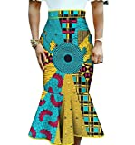 Vska Women's Midi Dashiki Mermaid Fashion Africa Print Bodycon Skirt 17 XS