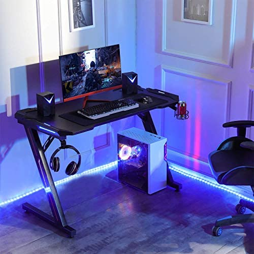 Sedeta Gaming Desk, 44.5 Gaming Table, Ergonomic Z-Shaped PC Gamer Tables, Computer Racing Gaming Desk with Carbon Fiber Surface LED Lights Cup Holder Headphone Hook Mouse Pad Home Office Desk