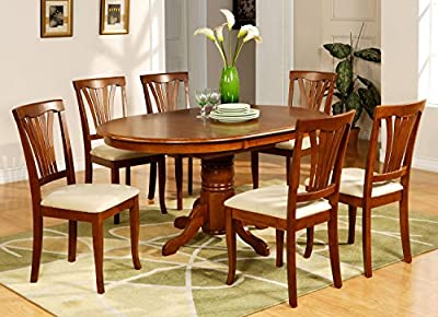 East West Furniture AVON5-SBR-C 5-Piece Dining Table Set, Saddle Brown Finish
