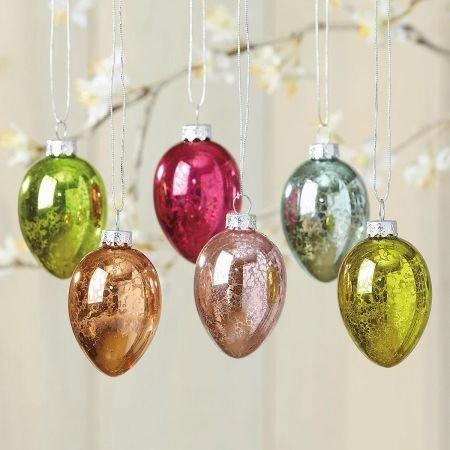 Mercury Glass Eggs Easter Ornaments #easterornaments