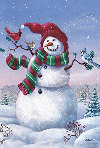 - Toland Home Garden Snowy Birdy Buddy 28 x 40 Inch Decorative Winter Snowman Bird House Flag