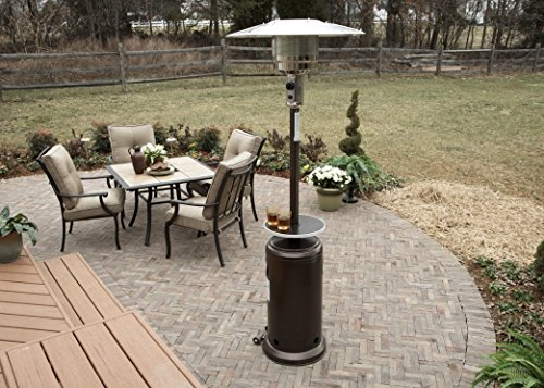 "Hiland HLDS01-WCGT Propane Patio Heater w/Wheels, 48,000 BTU w/Table and 33"" Heat Shield, Tall, Hammered Bronze"