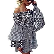 IEason Women Dress, Hot Sale! Womens Holiday Off Shoulder StripeParty Ladies Casual Dress Long Sleeve Dress