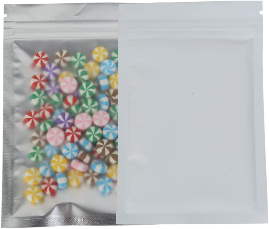 100 Assorted Translucent/Silver/Colored Flat Metallic Foil Mylar Zip Top Bags Pouch 8.5x13cm (3.3x5.1