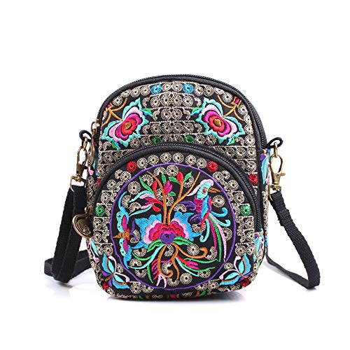 seeknfind Vintage Peony Embroidery Bag Mini Shoulder Bag Crossbody Bag Cellphone Bag for Women and Girls (Peony and mandarin duck) ()