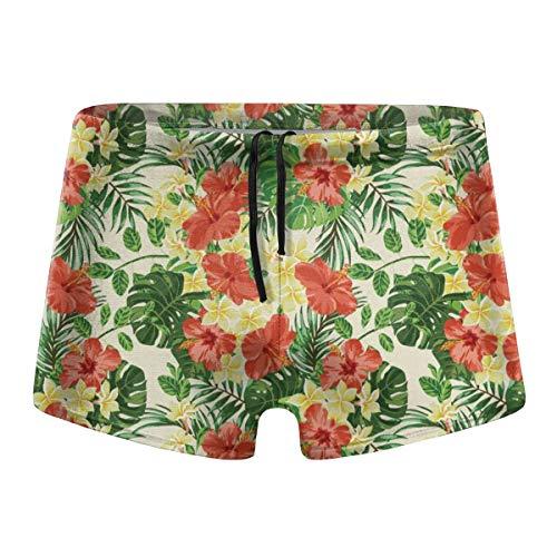 349tg1u Exotic Pattern with Plumeria Hibiscus Monstera Men's Swim Trunks Shorts Athletic Swimwear Briefs - Trunk Hibiscus