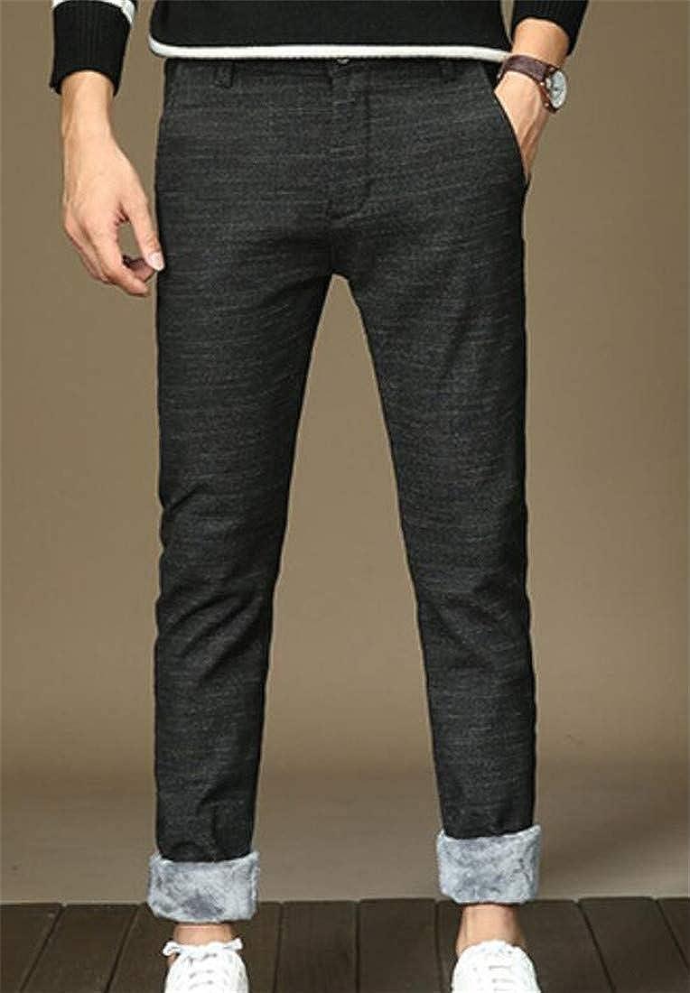 Cromoncent Mens Casual Fleece Lined Fleece Straight Leg Stretch Pants Trousers